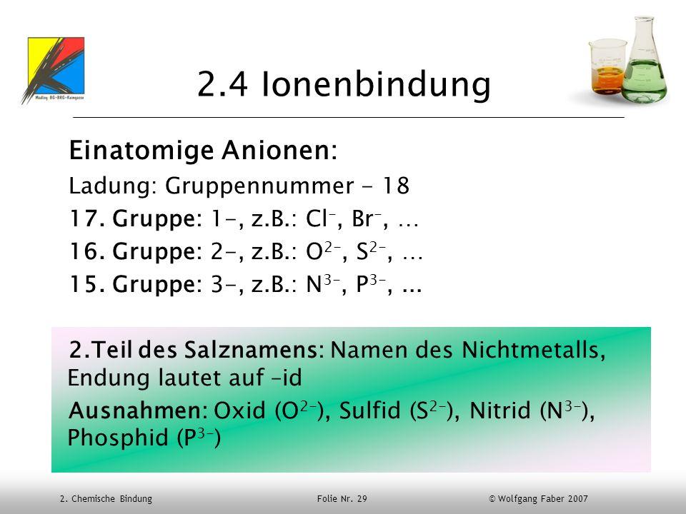 2.4 Ionenbindung Einatomige Anionen: Ladung: Gruppennummer - 18