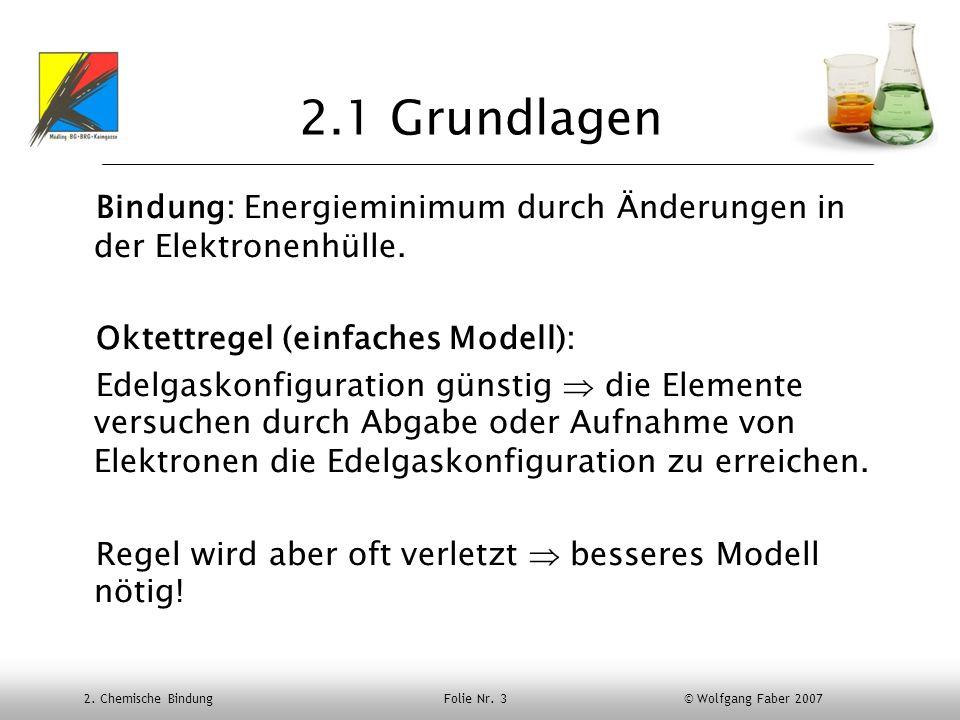 2.1 Grundlagen Bindung: Energieminimum durch Änderungen in der Elektronenhülle. Oktettregel (einfaches Modell):