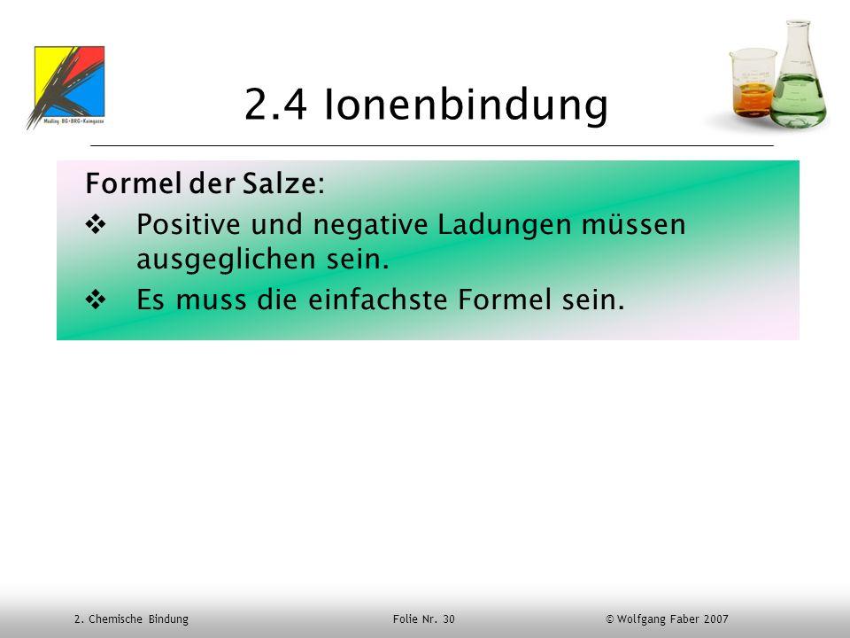 2.4 Ionenbindung Formel der Salze: