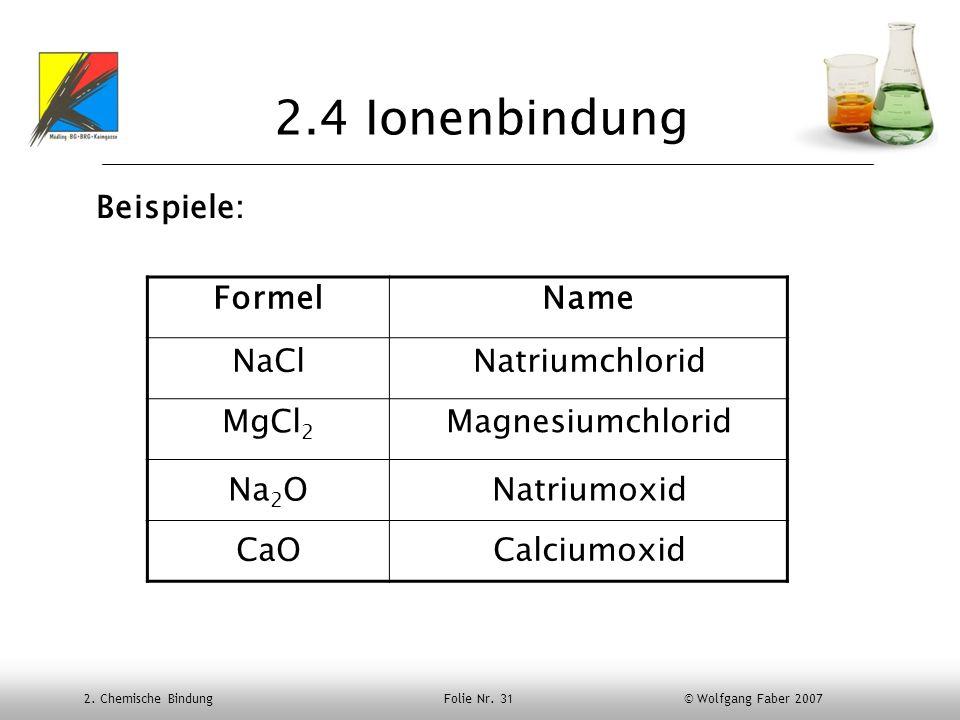 2.4 Ionenbindung Beispiele: Formel Name NaCl Natriumchlorid MgCl2