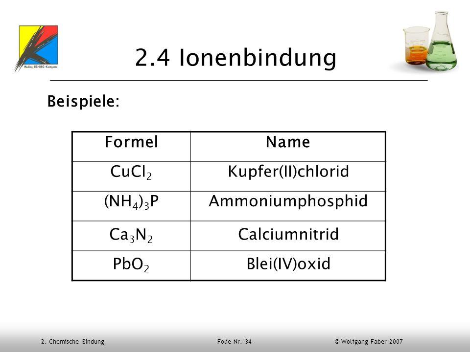 2.4 Ionenbindung Beispiele: Formel Name CuCl2 Kupfer(II)chlorid