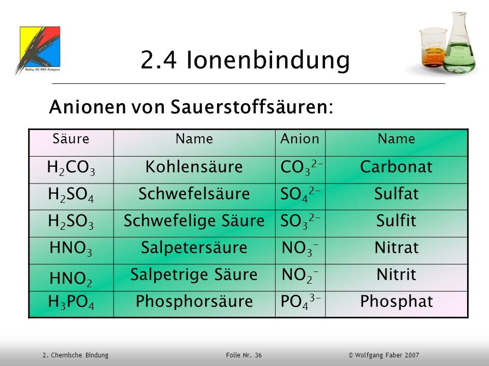 2.4 Ionenbindung Anionen von Sauerstoffsäuren: H2CO3 Kohlensäure CO32-