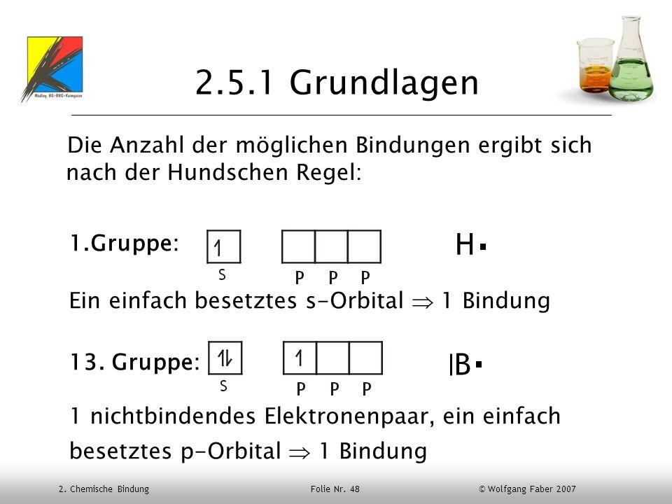 2.5.1 Grundlagen Die Anzahl der möglichen Bindungen ergibt sich nach der Hundschen Regel: Gruppe: Ein einfach besetztes s-Orbital  1 Bindung.