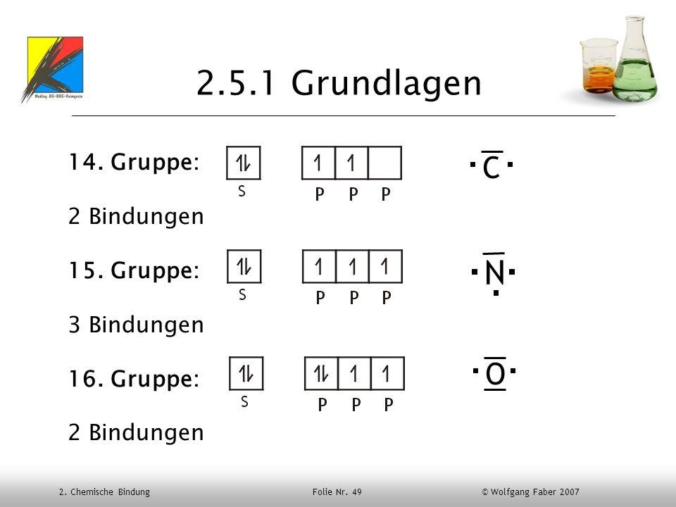 2.5.1 Grundlagen N C O 14. Gruppe: 2 Bindungen 15. Gruppe: 3 Bindungen