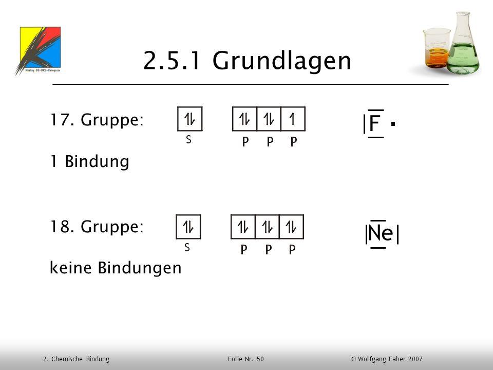 2.5.1 Grundlagen F Ne 17. Gruppe: 1 Bindung 18. Gruppe: