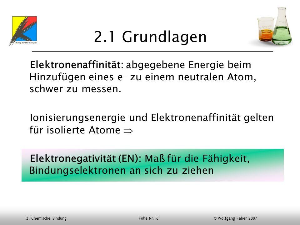 2.1 Grundlagen Elektronenaffinität: abgegebene Energie beim Hinzufügen eines e- zu einem neutralen Atom, schwer zu messen.