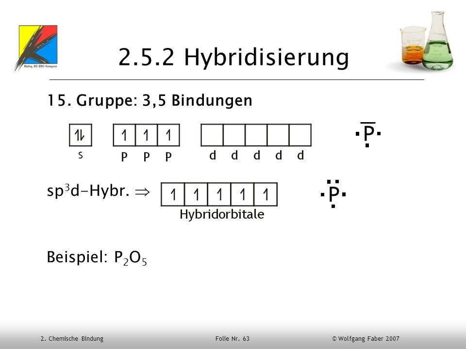 2.5.2 Hybridisierung P P 15. Gruppe: 3,5 Bindungen sp3d-Hybr. 