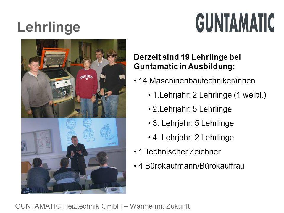 Lehrlinge Derzeit sind 19 Lehrlinge bei Guntamatic in Ausbildung: