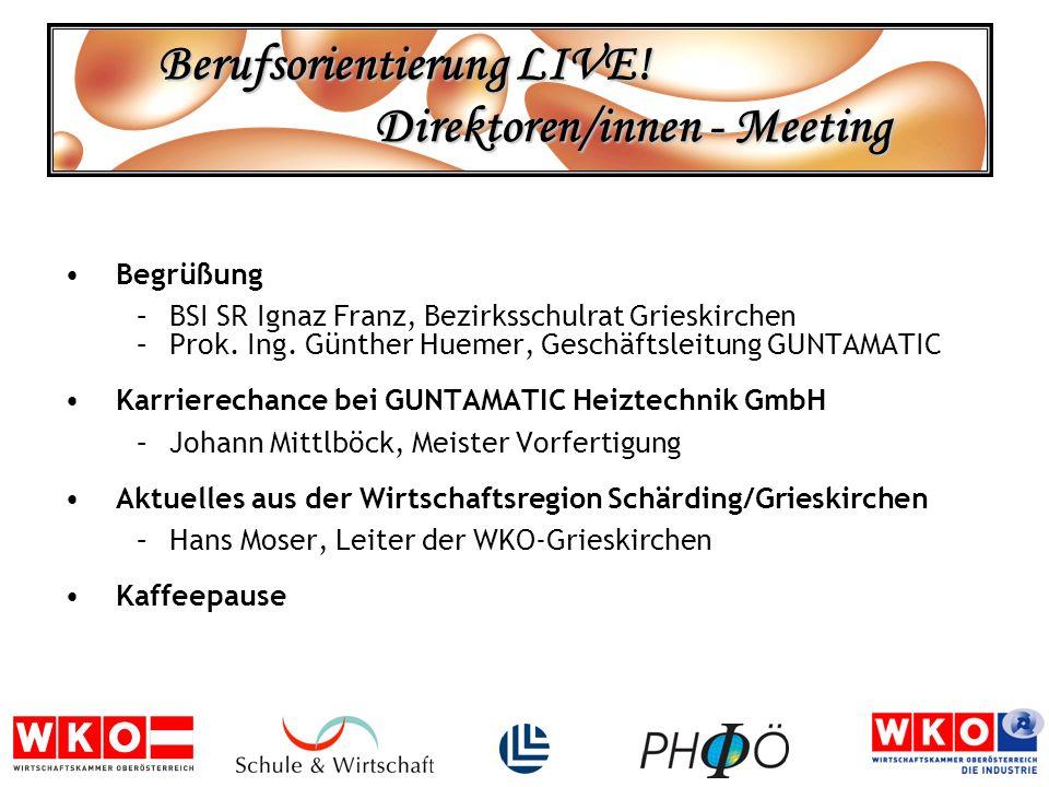 Berufsorientierung LIVE! Direktoren/innen - Meeting