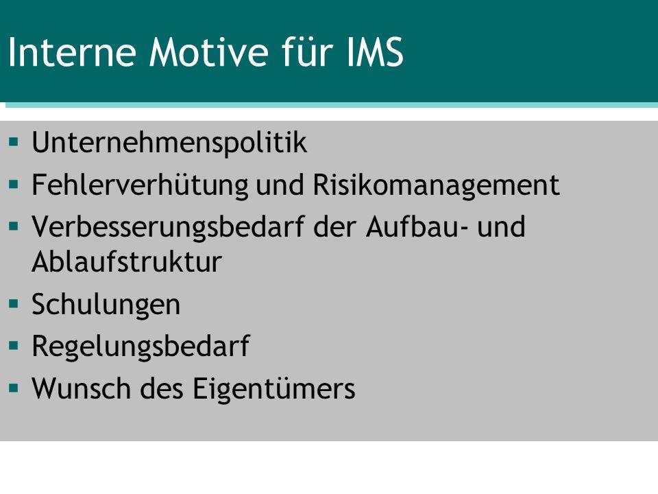 Interne Motive für IMS Unternehmenspolitik