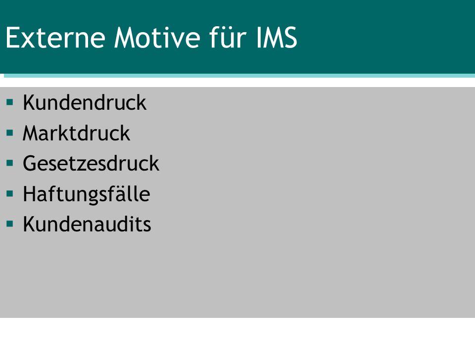 Externe Motive für IMS Kundendruck Marktdruck Gesetzesdruck