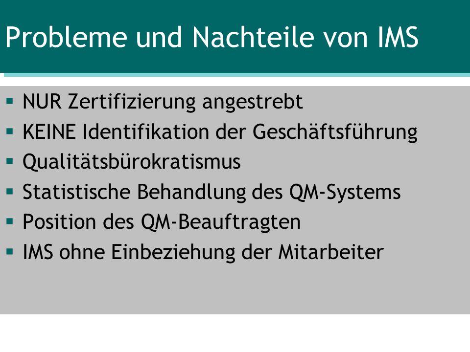 Probleme und Nachteile von IMS
