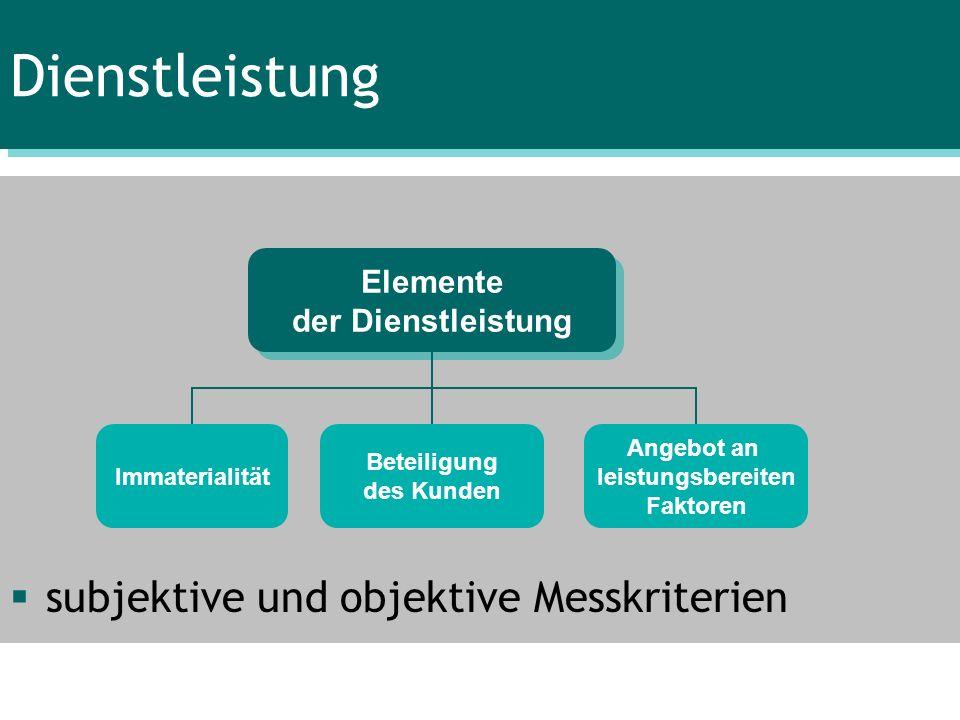 Dienstleistung subjektive und objektive Messkriterien Elemente