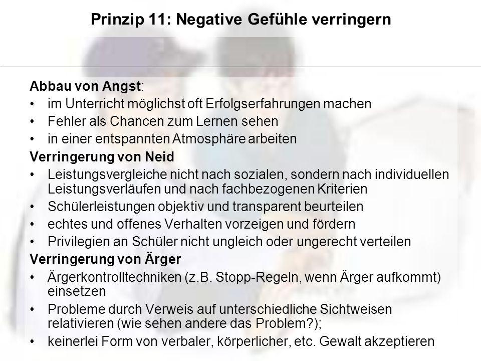 Prinzip 11: Negative Gefühle verringern