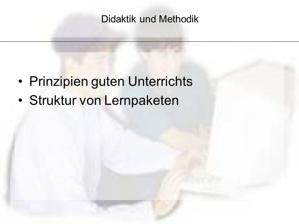 Prinzipien guten Unterrichts Struktur von Lernpaketen