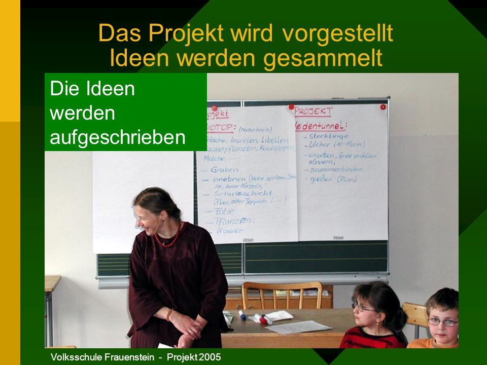 Das Projekt wird vorgestellt Ideen werden gesammelt
