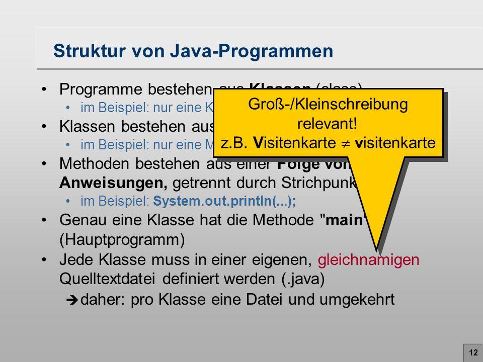 Struktur von Java-Programmen