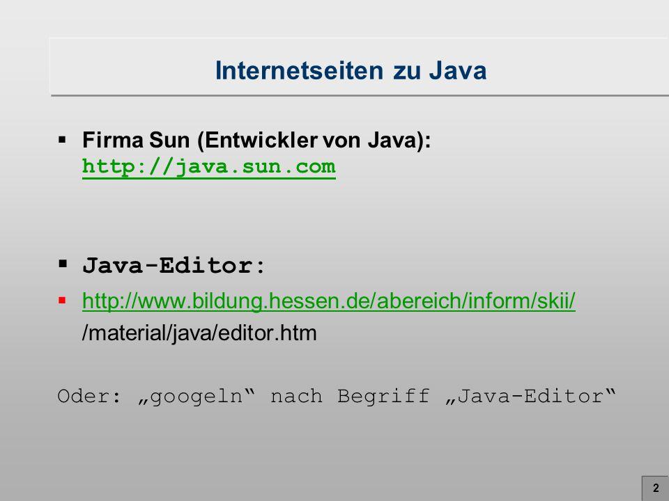 Internetseiten zu Java