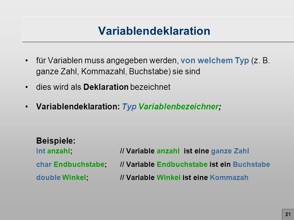 Variablendeklaration