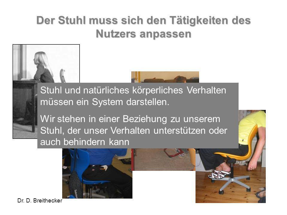 Der Stuhl muss sich den Tätigkeiten des Nutzers anpassen
