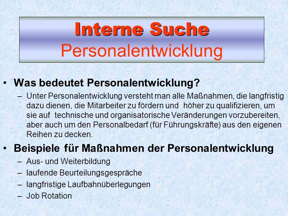 Interne Suche Personalentwicklung