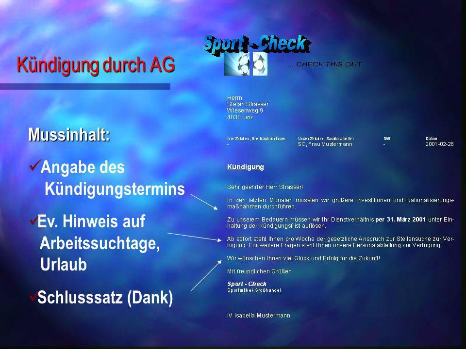 Kündigung durch AG Mussinhalt: Angabe des Kündigungstermins