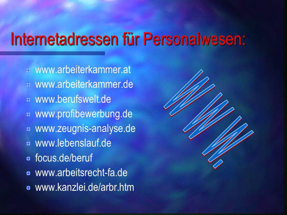Internetadressen für Personalwesen:
