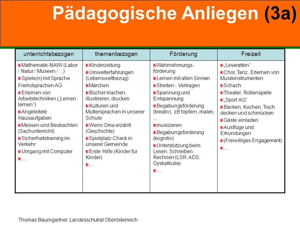 Pädagogische Anliegen (3a)