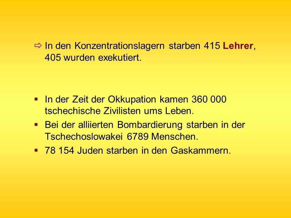 In den Konzentrationslagern starben 415 Lehrer, 405 wurden exekutiert.