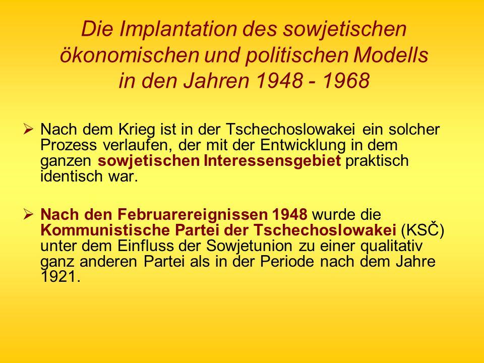 Die Implantation des sowjetischen ökonomischen und politischen Modells in den Jahren 1948 - 1968