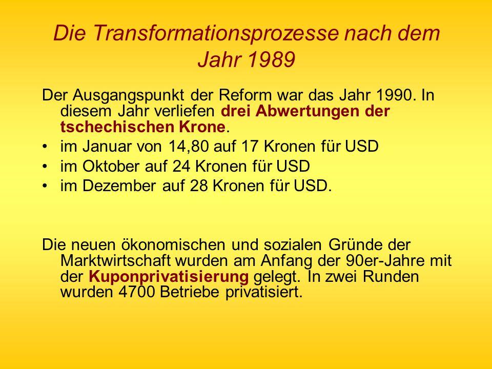 Die Transformationsprozesse nach dem Jahr 1989