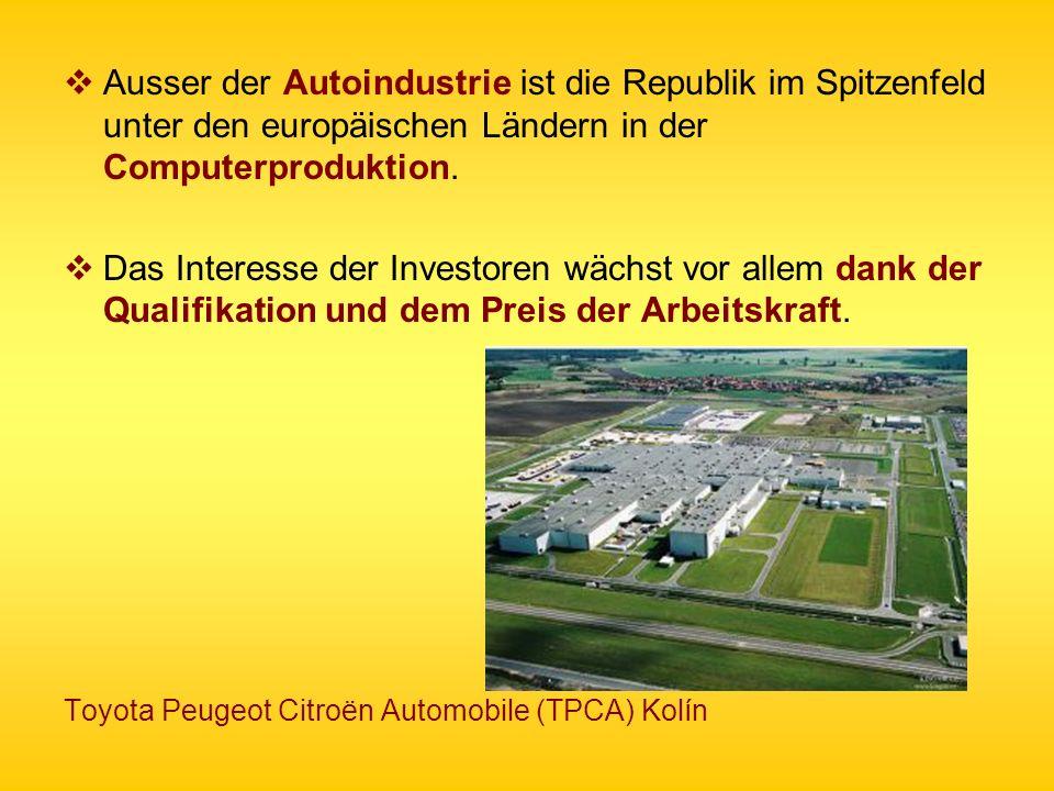 Ausser der Autoindustrie ist die Republik im Spitzenfeld unter den europäischen Ländern in der Computerproduktion.