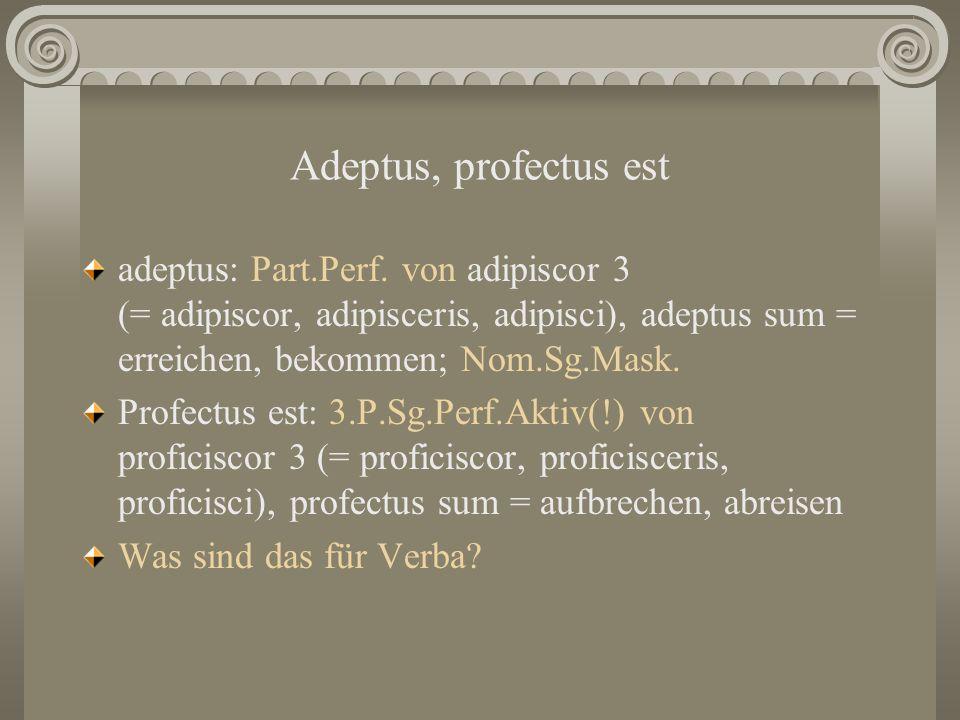 Adeptus, profectus est adeptus: Part.Perf. von adipiscor 3 (= adipiscor, adipisceris, adipisci), adeptus sum = erreichen, bekommen; Nom.Sg.Mask.