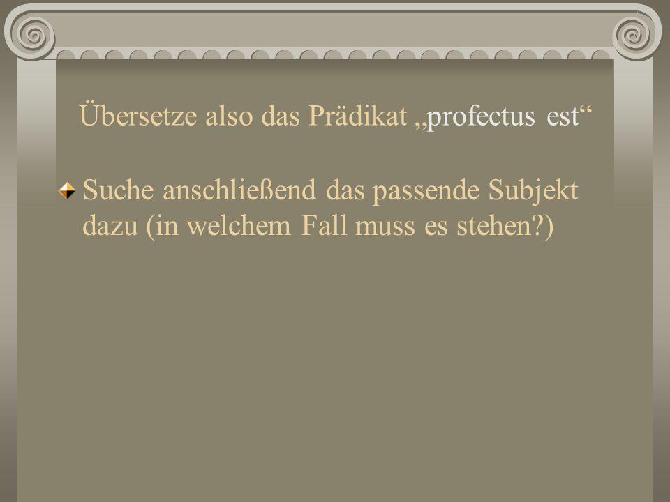 "Übersetze also das Prädikat ""profectus est"