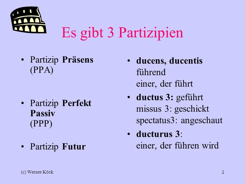 Es gibt 3 Partizipien Partizip Präsens (PPA)