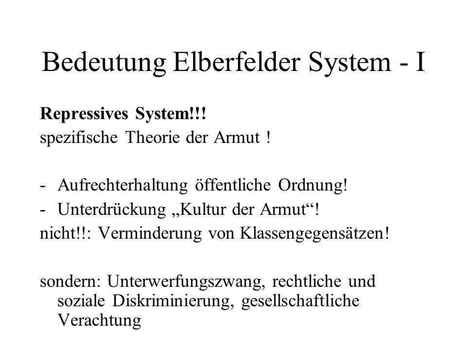 Bedeutung Elberfelder System - I
