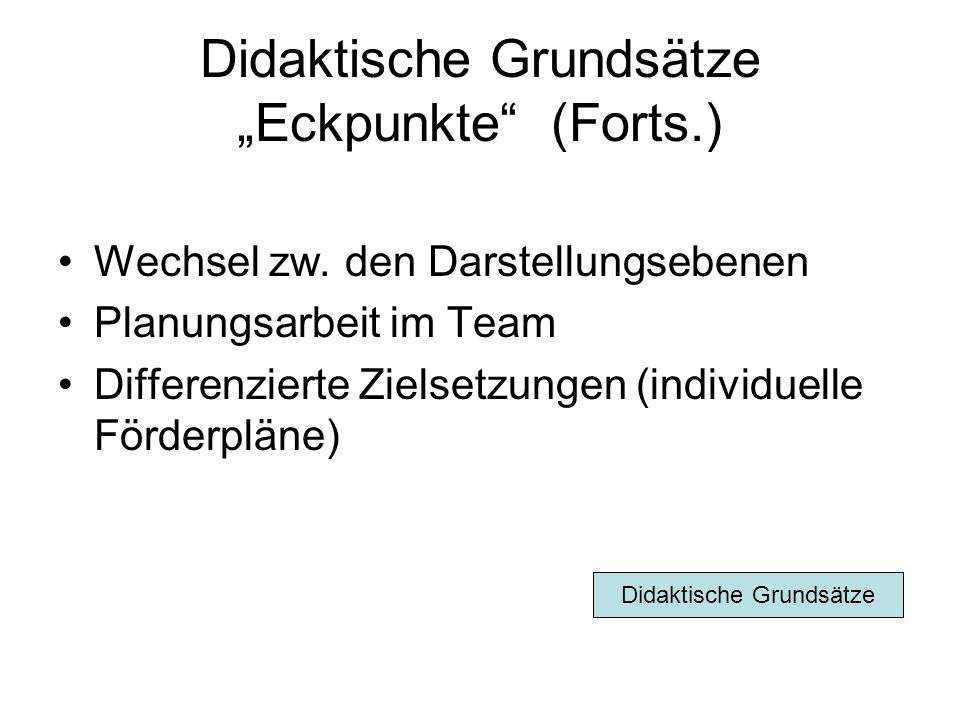 """Didaktische Grundsätze """"Eckpunkte (Forts.)"""