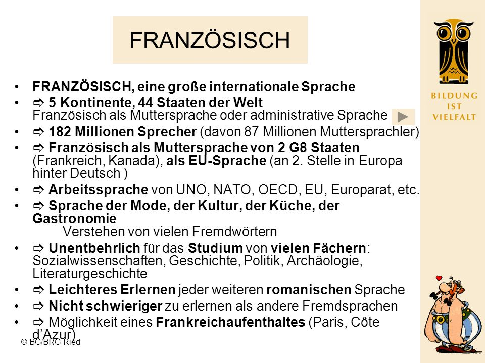 FRANZÖSISCH FRANZÖSISCH, eine große internationale Sprache