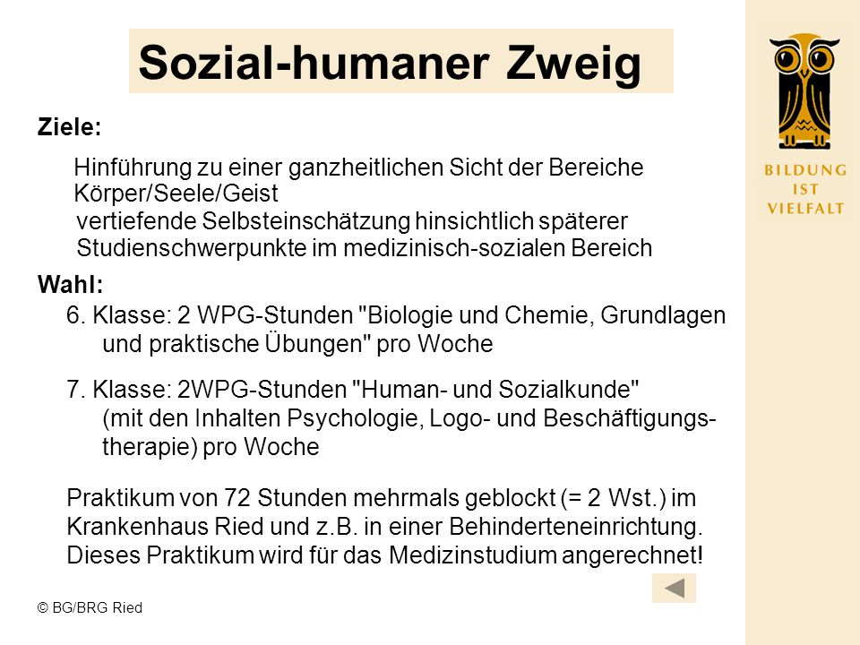 Sozial-humaner Zweig Ziele: Wahl: