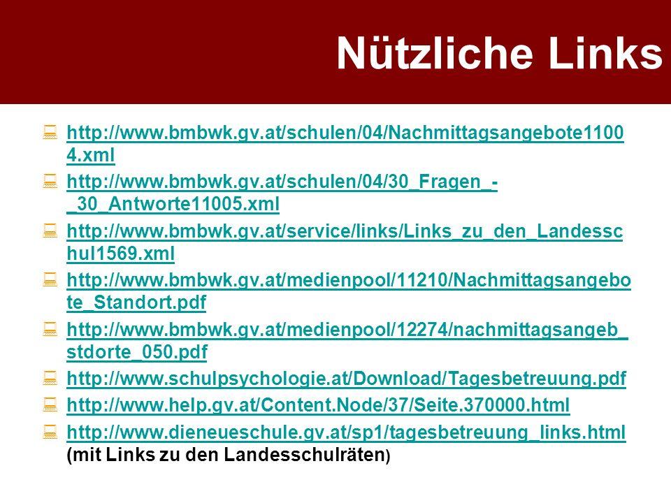 Nützliche Links http://www.bmbwk.gv.at/schulen/04/Nachmittagsangebote11004.xml. http://www.bmbwk.gv.at/schulen/04/30_Fragen_-_30_Antworte11005.xml.