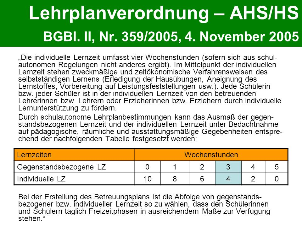 Lehrplanverordnung – AHS/HS BGBl. II, Nr. 359/2005, 4. November 2005