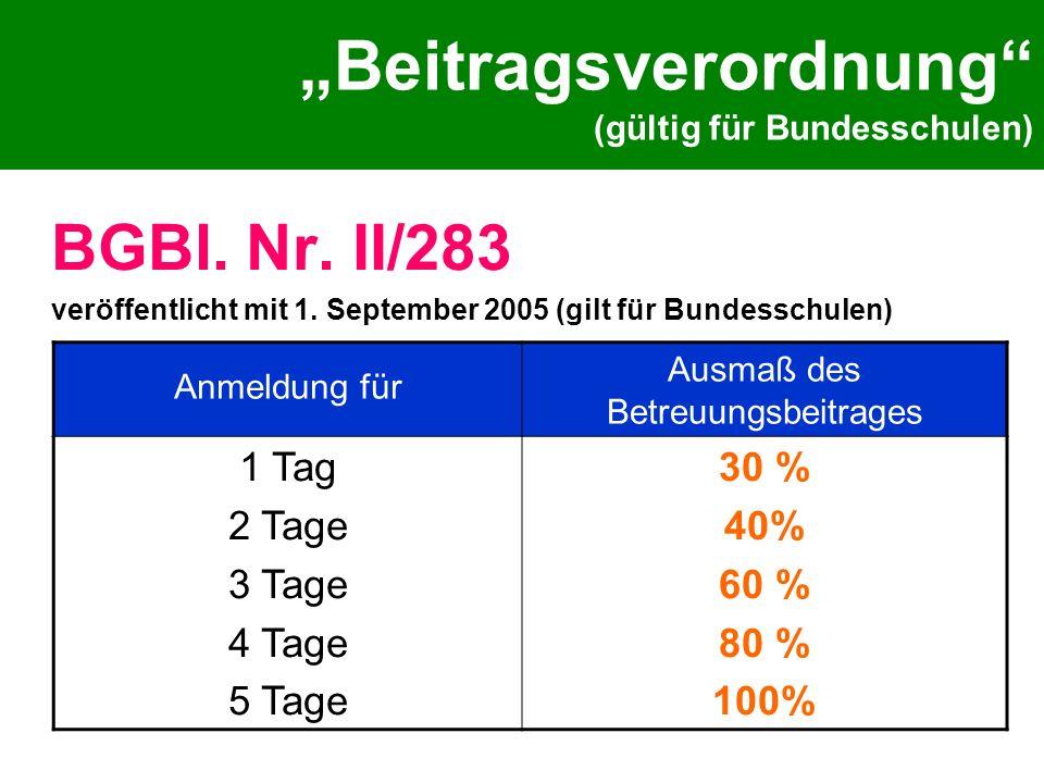 """""""Beitragsverordnung (gültig für Bundesschulen)"""