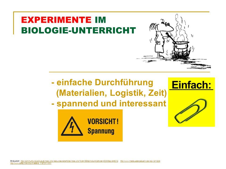 EXPERIMENTE IM BIOLOGIE-UNTERRICHT