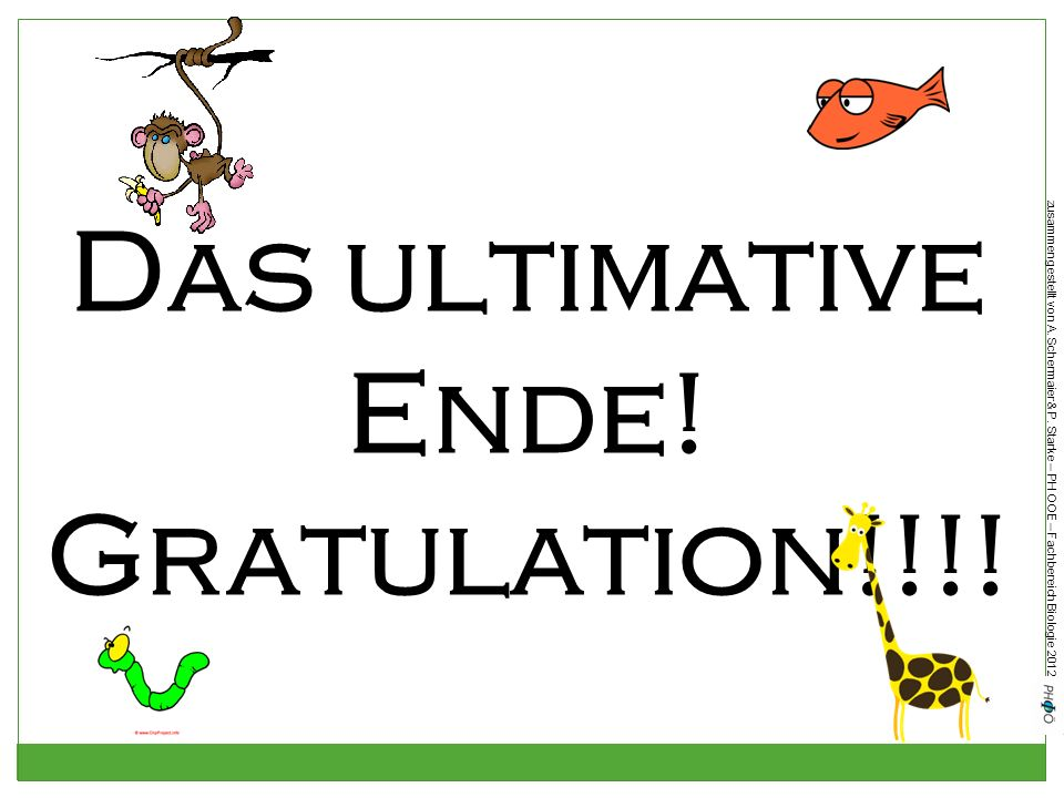 Das ultimative Ende! Gratulation!!!!