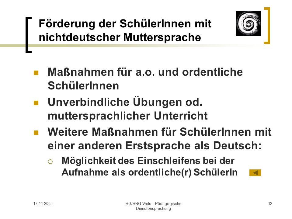 Förderung der SchülerInnen mit nichtdeutscher Muttersprache