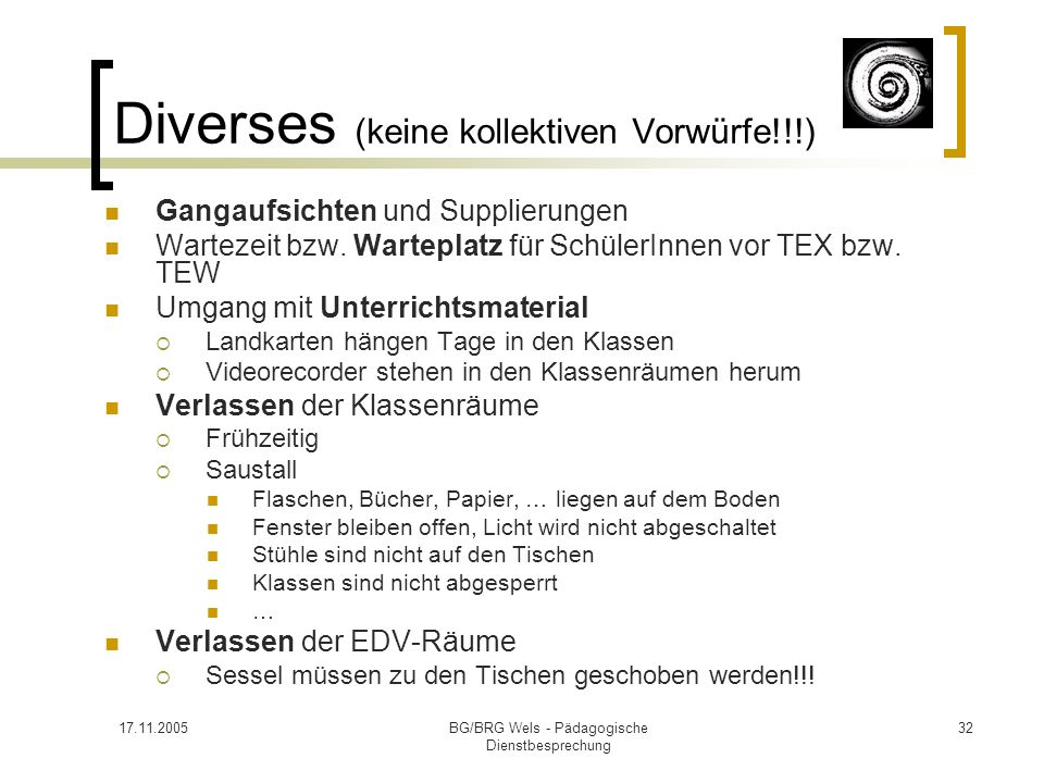 Diverses (keine kollektiven Vorwürfe!!!)