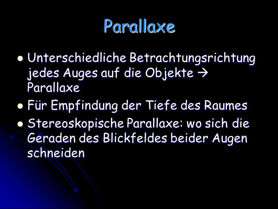 Parallaxe Unterschiedliche Betrachtungsrichtung jedes Auges auf die Objekte  Parallaxe. Für Empfindung der Tiefe des Raumes.