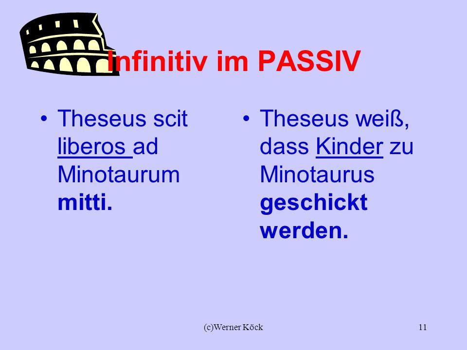 Infinitiv im PASSIV Theseus scit liberos ad Minotaurum mitti.