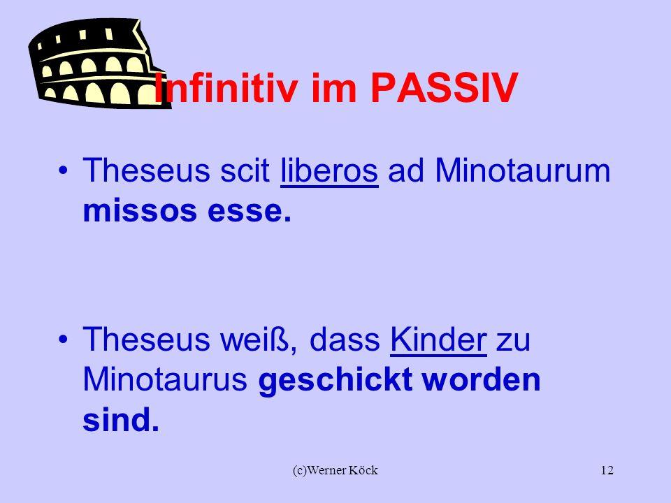 Infinitiv im PASSIV Theseus scit liberos ad Minotaurum missos esse.