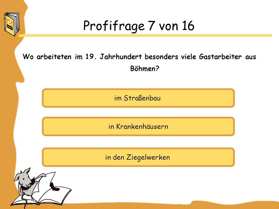 Profifrage 7 von 16 Wo arbeiteten im 19. Jahrhundert besonders viele Gastarbeiter aus Böhmen im Straßenbau.
